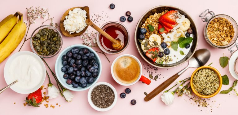 Healthy breakfast set with coffee and granola